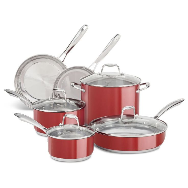 This dishwasher-durable KitchenAid Stainless Steel Empire Red 10 Piece Cookware Set offers a nonstick colorfast finish that resists fading and discoloring. The stainless steel base stays flat on all cooktop surfaces.
