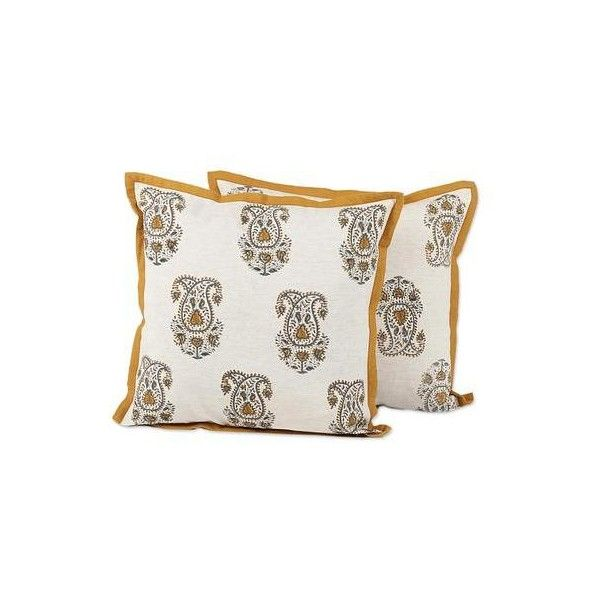 NOVICA Cotton Paisley Pattern Antique White Cushion Covers (Pair) (475 ZAR) ❤ liked on Polyvore featuring home, home decor, throw pillows, cushion covers, pillows & throws, set of 2 throw pillows, novica, cream colored throw pillows, paisley home decor and beige throw pillows