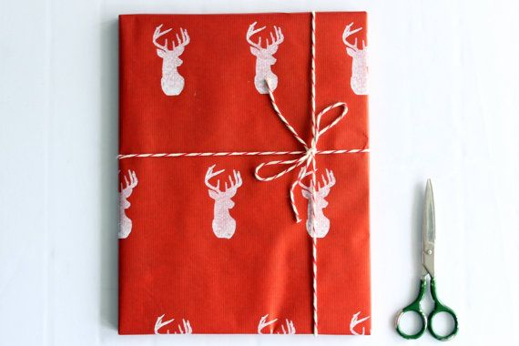 Christmas wrapping paper | Red gift paper | Hand printed kraft paper | Stamped paper | White deer stamp | 27.5x39.5'' | 70x100cm