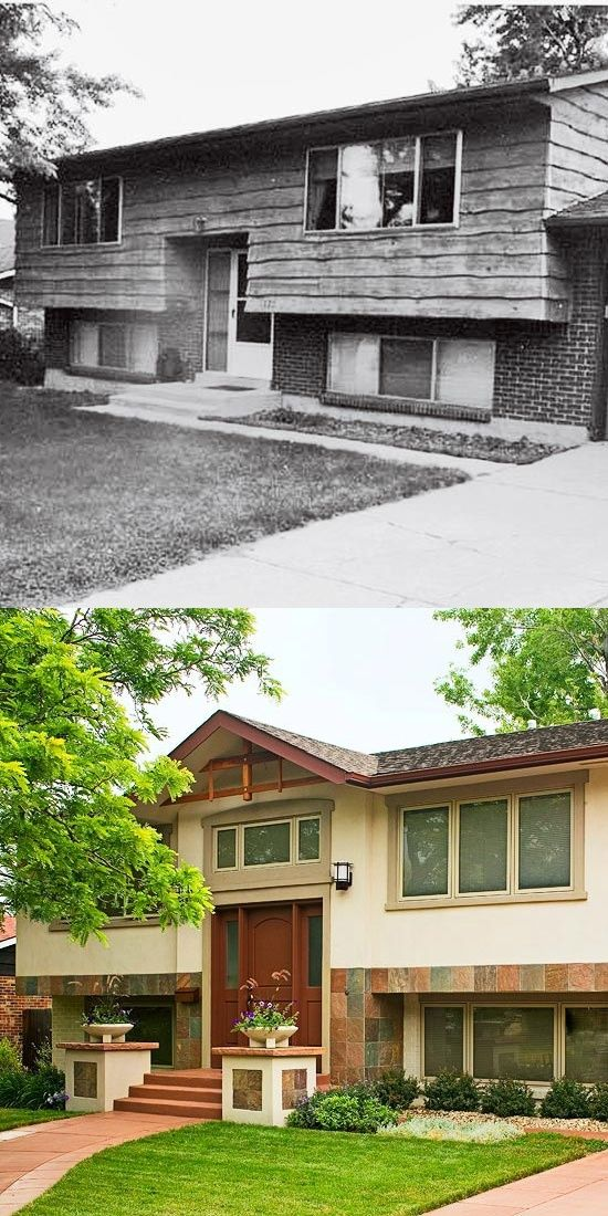 Split level homes before and after before after for Redesign house exterior