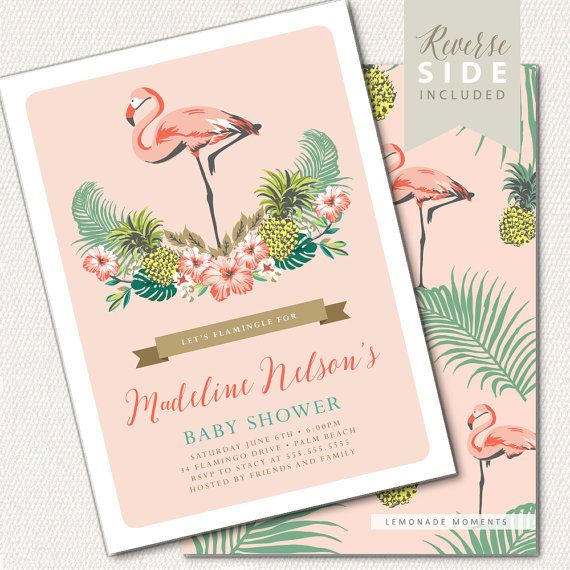 Flamingo Baby Shower Invitation - Luau Baby Shower Invitation - Aloha, Flamingo, Pineapple, Palm Leaf, Tropical, Hawaiian Baby Shower Party