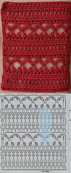 Crochet stitch with chart ༺✿ƬⱤღ https://www.pinterest.com/teretegui/✿༻