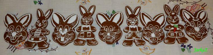 Easter gingerbread - bunnies- veľkonočné medovníčky zajačiky...