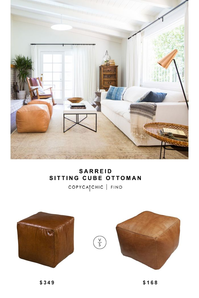 Sarried Leather Sitting Cube Ottoman for $349 vs Minda Home Cube for $168 Copy Cat Chic luxe living for less budget home decor and design look for less http://www.copycatchic.com/2016/12/sarreid-sitting-cube-ottoman.html?utm_campaign=coschedule&utm_source=pinterest&utm_medium=Copy%20Cat%20Chic&utm_content=Sarreid%20Sitting%20Cube%20Ottoman