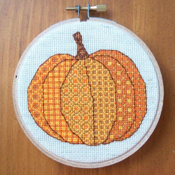 Patchwork Pumpkin Cross Stitch Pattern, Digital Download PDF, Fall, Autumn, Halloween, Thanksgiving, Gift, from bythelindentree