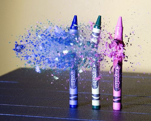 awesome and random | cause who slow-motion shoots some crayons
