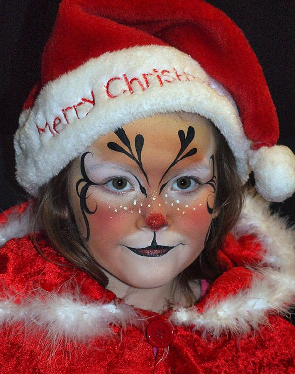 Christmas Reindeer face painting design by Mary Fairgrieve