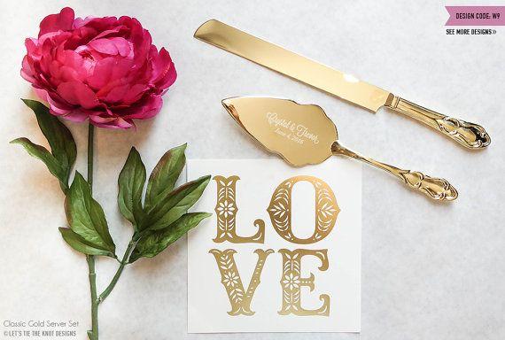 Personalized Gold Wedding Cake Knife and Server Set - (2pc) Custom Engraved Classic Gold Cake Knife and Server - Personalized Wedding Gift