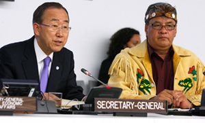 Secretary-General Ban Ki-moon and Grand Chief Edward John, Vice Chairperson of the UN Permanent Forum on Indigenous Issues