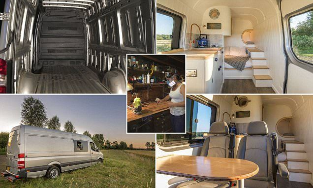 Engineer transforms a plain van into a family-friendly mobile home