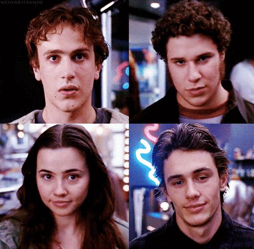 """Freaks and Geeks"" I love how Nick goes for stoned and unsure, Ken for serious, Lindsay for cute, and Daniel for IDGAF."