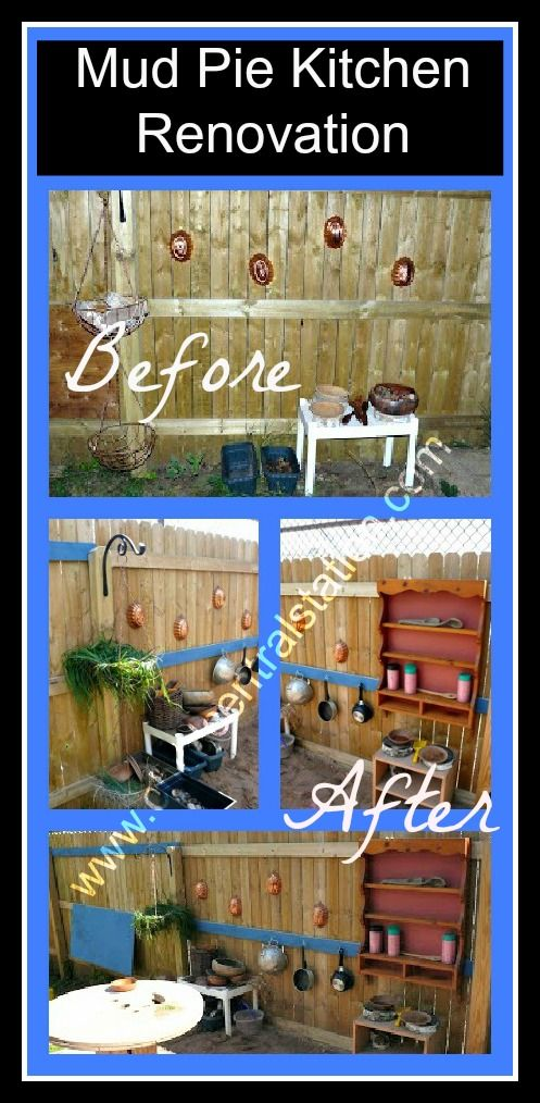 Mud Pie Kitchen Renovation | Child Central Station, One of my favorite areas in our outdoor classroom- so many hours of fun, play, and learning! #ece, #playoutdoors, #kids, #outdoorclassroom, #mudpies