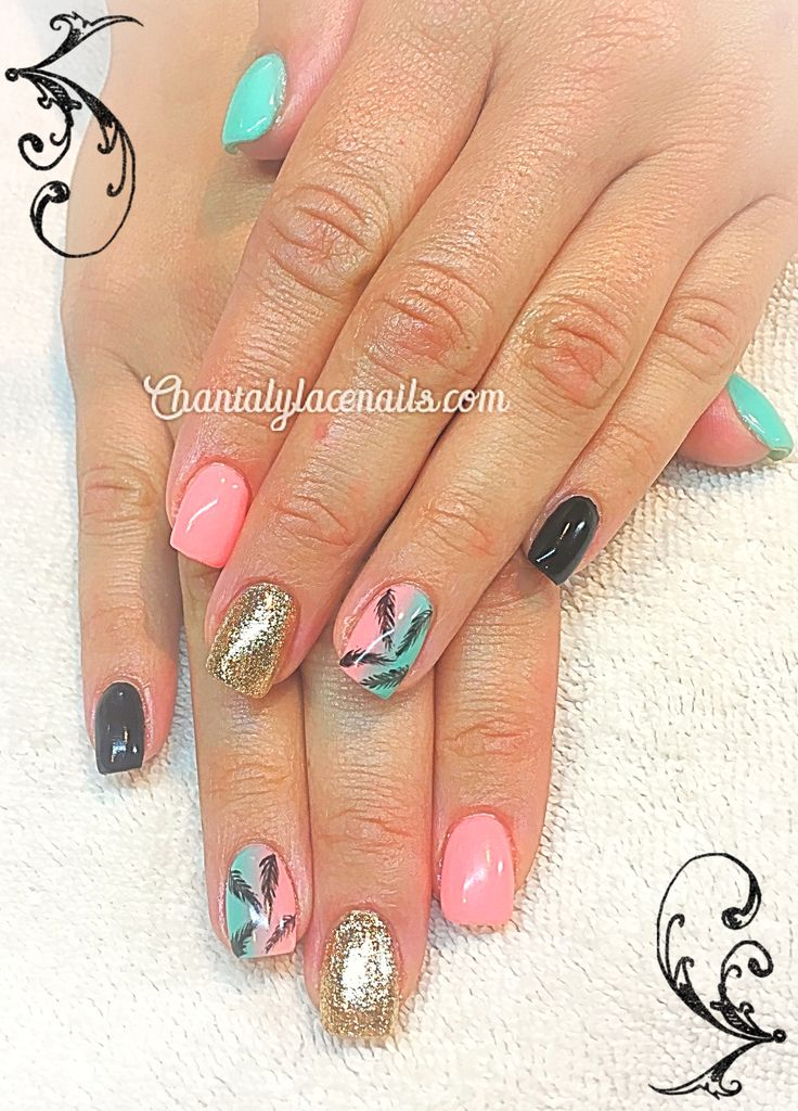 ombre nails, feather nail art