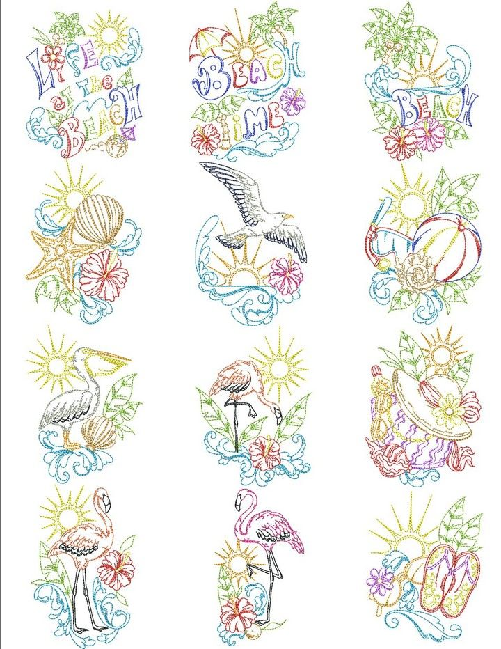 Beach life machine embroidery designs by sew swell