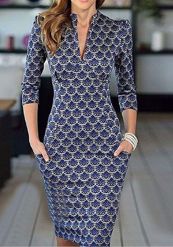 Blue Floral Elegant Plunging Neckline 3/4 Sleeve Mini Dress