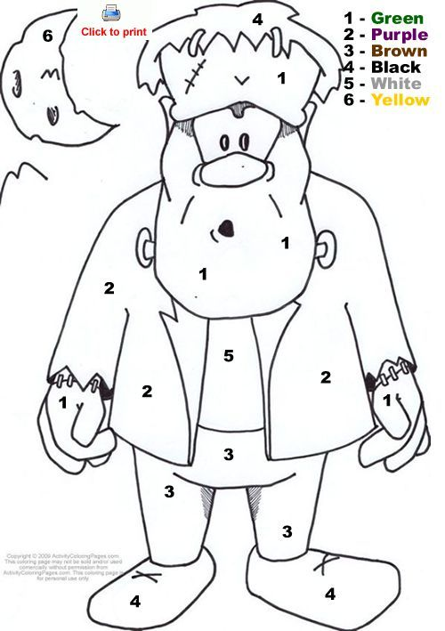 Frankenstein color by number halloween color by number activity coloring pages