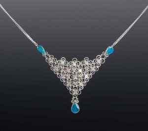 Silver Filigree Necklace with Chrysocolla by Coco Paniora Salinas