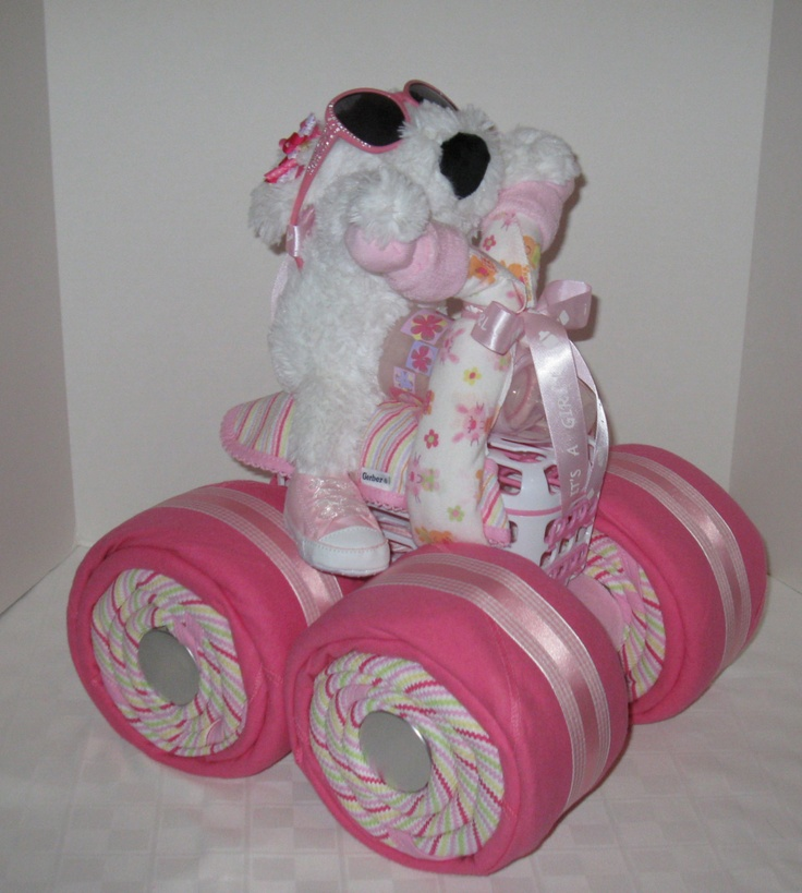 diaper cake 4wheeler quad motorcycle baby showergirl baby gift shower centerpiece baby shower basket