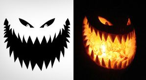 10 Free Printable Scary Halloween Pumpkin Carving Patterns / Stencils