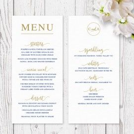 Navy Blue, White and Gold Statement wedding or corporate event menu printed on double sided card peach perfect australia