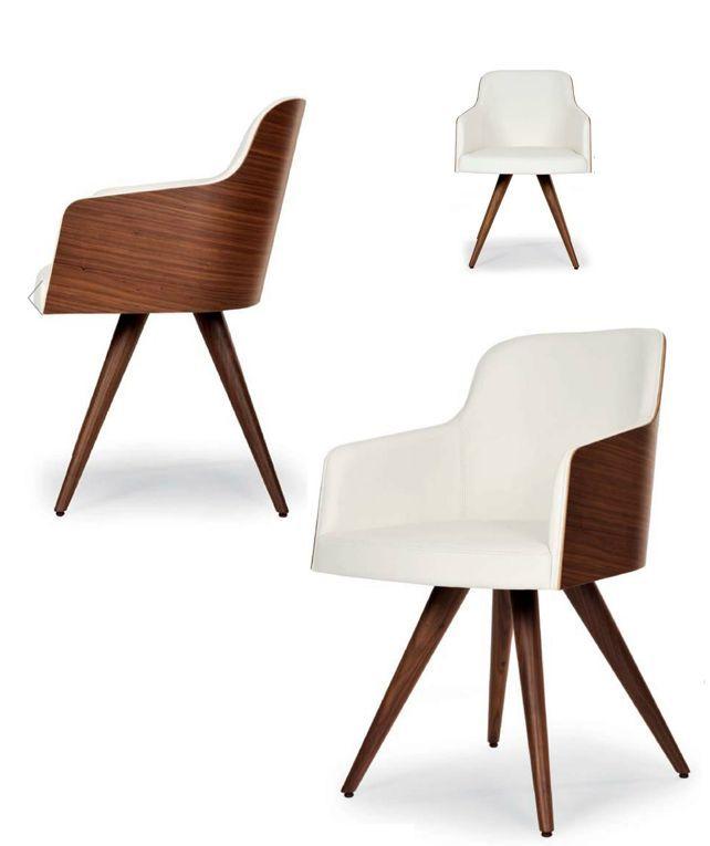 """Marlene chaise est conçue par le fabricant italien Riccardo Rivoli. Disponibles en laine, cuir ou simili cuir avec des pieds/dossier en plaqué chêne ou noyer! Vous pouvez demander une chaise d'essai """"avant de choisir votre modèle final!"""