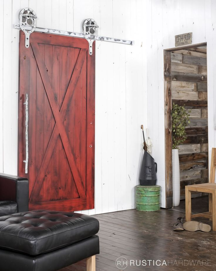 Most of our barn doors come as kits you can assemble in 15 to 20 minutes. Pictured is a Full X barn door with barn red finish glaze and clear coat. http://rusticahardware.com/full-x-barn-door/
