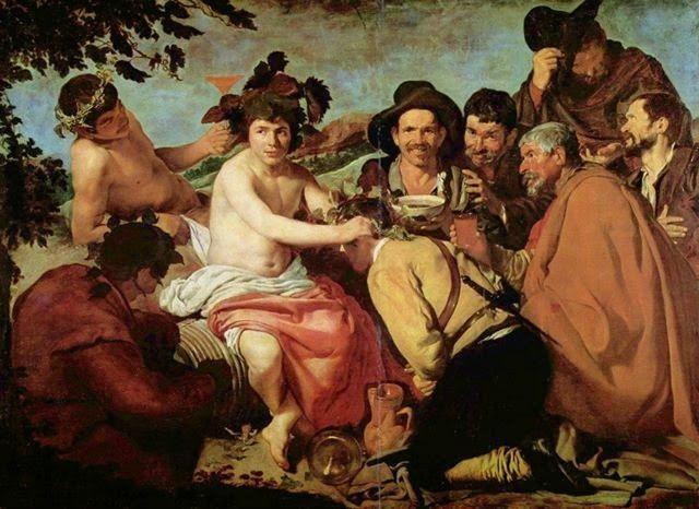 """""""Aquellos que padecen una indigestión o una borrachera no saben lo que es comer ni lo que es beber.""""  Anthelme Brillat Savarín   Jean Anthelme Brillat-Savarin (1755-1826) fue un jurista francés que ocupó importantes cargos políticos después de la Revolución, es el autor del primer tratado de gastronomía (Fisiología del Gusto, 1825).  El cuadro es """"El triunfo de Baco"""" - Diego Velázquez - Museo del Prado"""