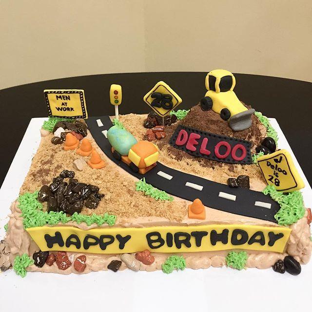Construction theme cake #birthdaycake #redvelvet #creativecakes #happybakerdelights #constructioncakes #cakeoftheday