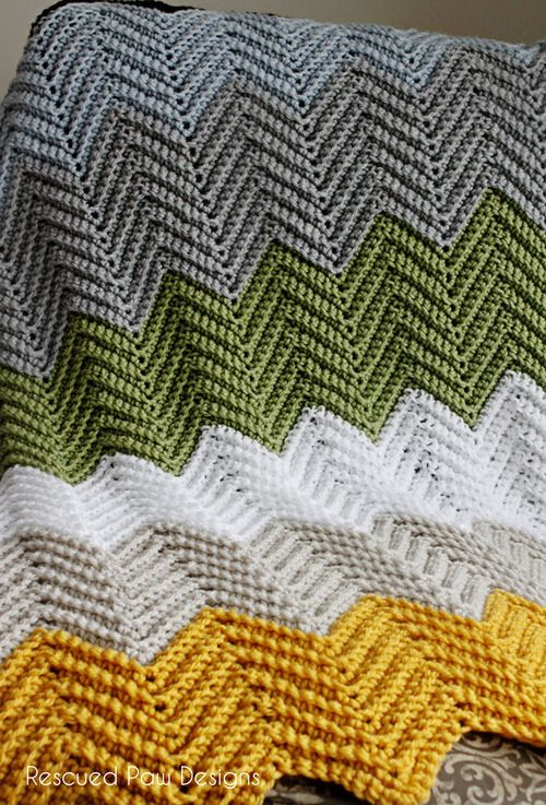 Rescued Paw Designs: The Wonders Chevron Blanket - free crochet pattern by Krista Cagle. Worsted weight. Back loop only single crochet (UK dc).