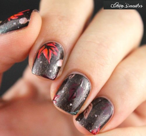 Fall Leaves on Chocolate Nail Art
