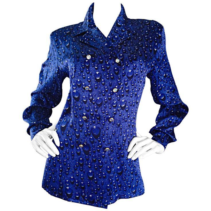 "Vintage Escada Margaretha Ley Royal Blue ' Raindrop "" Optical Illusion Blouse  | From a collection of rare vintage shirts at https://www.1stdibs.com/fashion/clothing/shirts/"