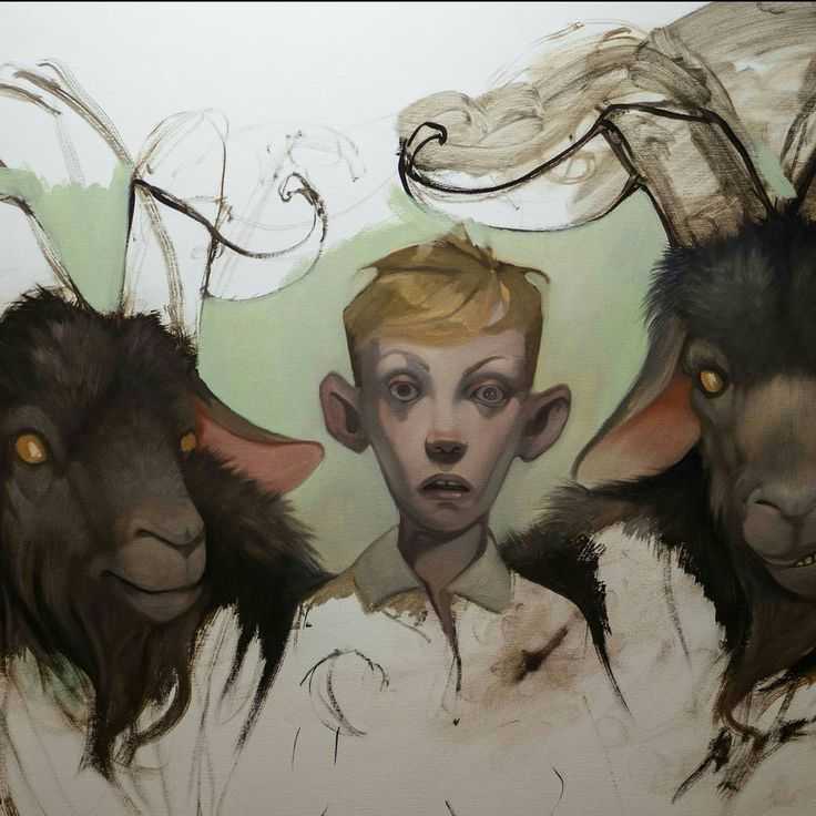 Just a boy with some goats... Another big one for my solo at Kirk Gallery this coming March 💚   #lowbrowart   #lowbrow   #popsurrealism   #symbolism   #darkart   #horror   #death   #oilpainting   #painting   #nordicart   #scandinavianart   #outsiderart   #gothic   #kunst   #artistsofinstagram   #art   #wip   #maleri   #m ålning  #danskkunst   #firstlayer   #postcontemporaryart   #fineart   #traditionalpainting