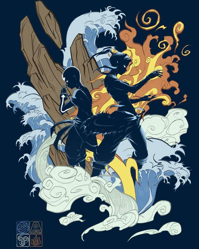 Aang and Korra by idriu95