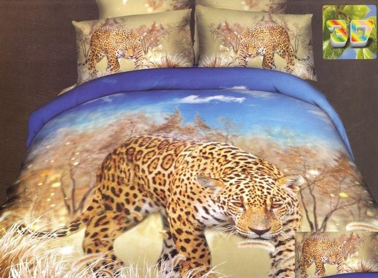 Modna beżowo niebieska pościel do pokoju z gepardem