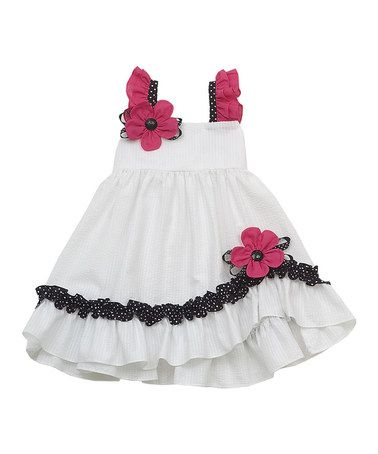 Loving this White Flower Seersucker Ruffle Dress - Girls on #zulily! #zulilyfinds What's more classic than white and black and hot pink?