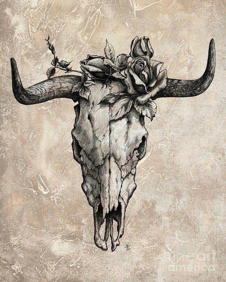 Desert rose and bull skull