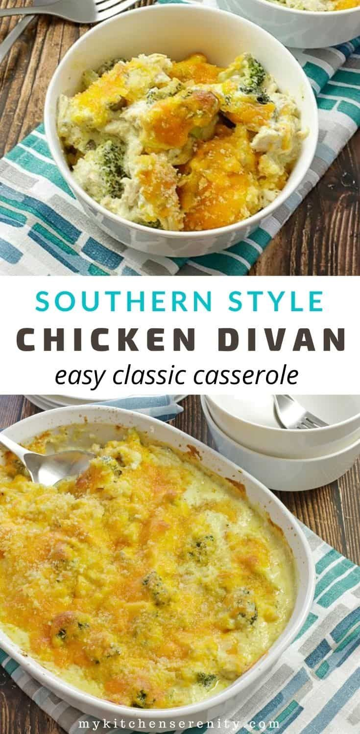Chicken Divan Is A Classic Casserole Made With Chicken And Broccoli Baked With A Sour Cream And Cream Of Mushroom Soup Mixture With In 2020 Chicken Divan Recipes Food