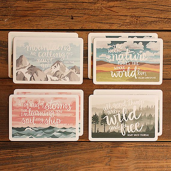 sweet postcard set by one canoe two, etsy.