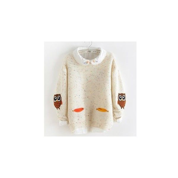 Owl Sweater (760 UAH) ❤ liked on Polyvore featuring tops, sweaters, sweatshirt, women, white top, white sweater, sleeve top, owl sweaters and owl top