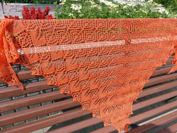 Bright orange Lace Shawl. Hand Knitting. Free от ShawlOlga на Etsy