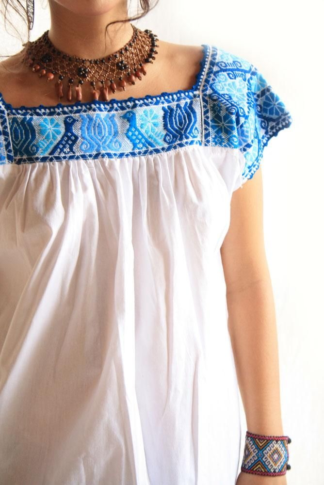 Quetzales Pajaros Azules Mexican fine embroidered blouse