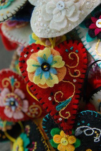 beautiful embroidered felt hearts