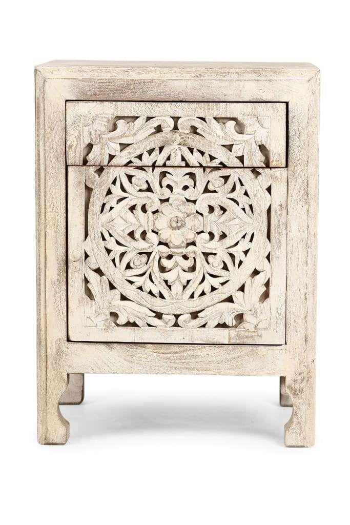 Mandala Bedside Cabinet Furniture Ishka Carved Wood Bedside