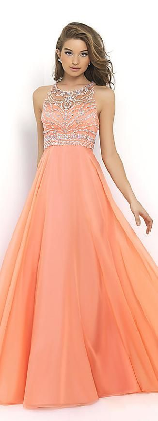 Elegant Natural Floor A-Line Sleeveless Chiffon Prom Dresses In Stock…