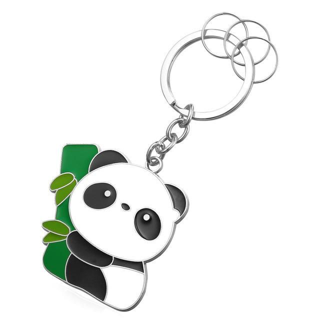 U7 Cute Panda Key Chains Rings For Men/Women Wholesale Gold Color Novelty Animal Key Holder Keychain With Box K012