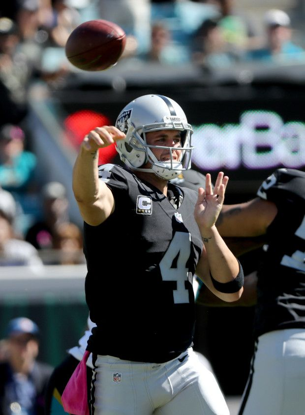 Raiders vs. Jaguars:     October 23, 2016  -  33-16, Raiders  -    Derek Carr #4 of the Oakland Raiders passes against the Jacksonville Jaguars during the game at EverBank Field on October 23, 2016 in Jacksonville, Florida. (Photo by Sam Greenwood/Getty Images)