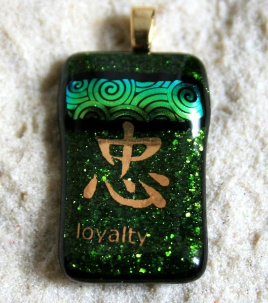 Fused Glass Pendant Gold Loyalty Symbol - by Derryrush Designs