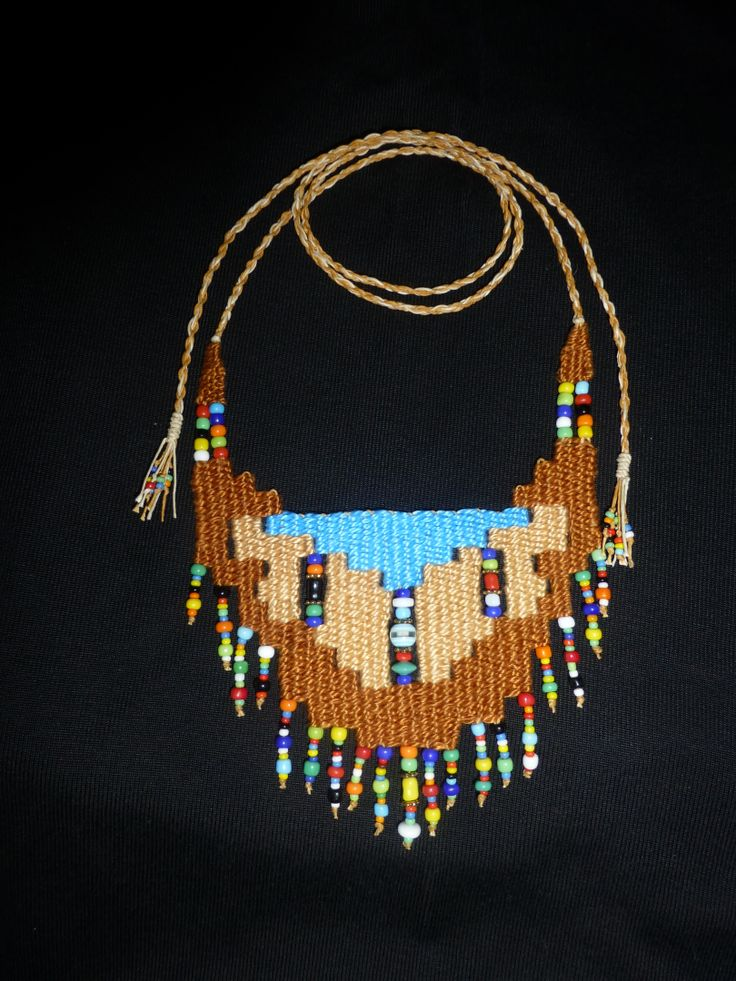 """Southwest"" - 2014 - Adjustable length modeled after ""Turquosie"", stairstep design, SOLD.  Woven by Terri Scache Harris, theravenscache.shutterfly.com   Hand woven, handwoven, weaving, weave, needleweaving, pin weaving, woven necklace, fashion necklace, wearable art, fiber art."