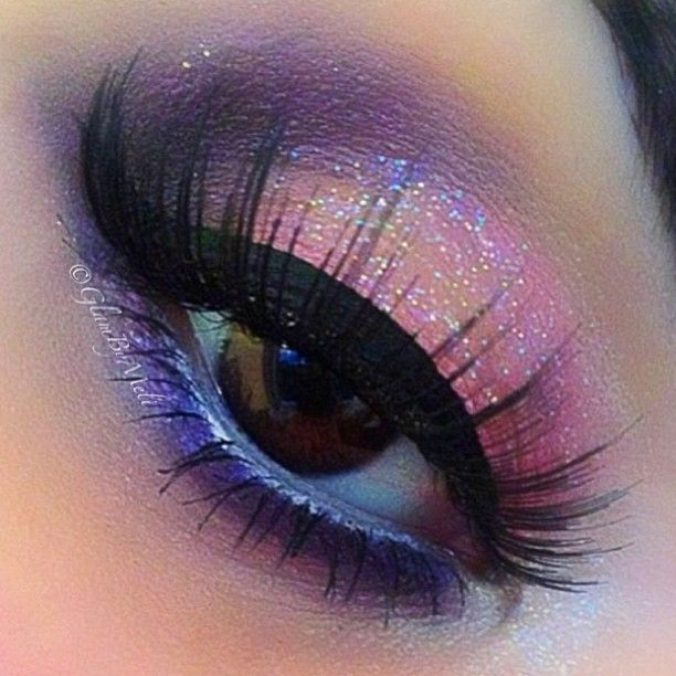 Pink and purple glitter eye makeup