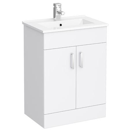 Turin 600 x 400mm Minimalist Gloss White Vanity Unit w/ Ceramic Basin - VTMW600